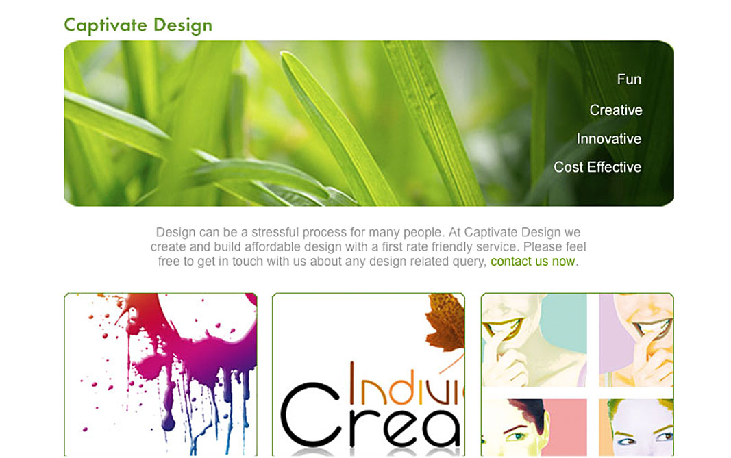 Picture of a website I designed for a company called Captivate Design
