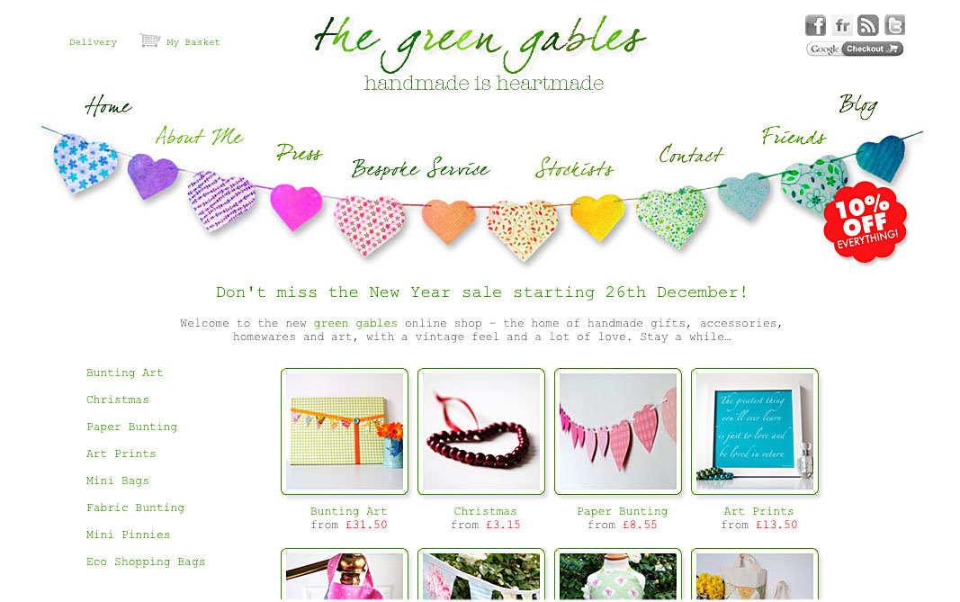 Picture of the 1st website I designed for a company called the green gables