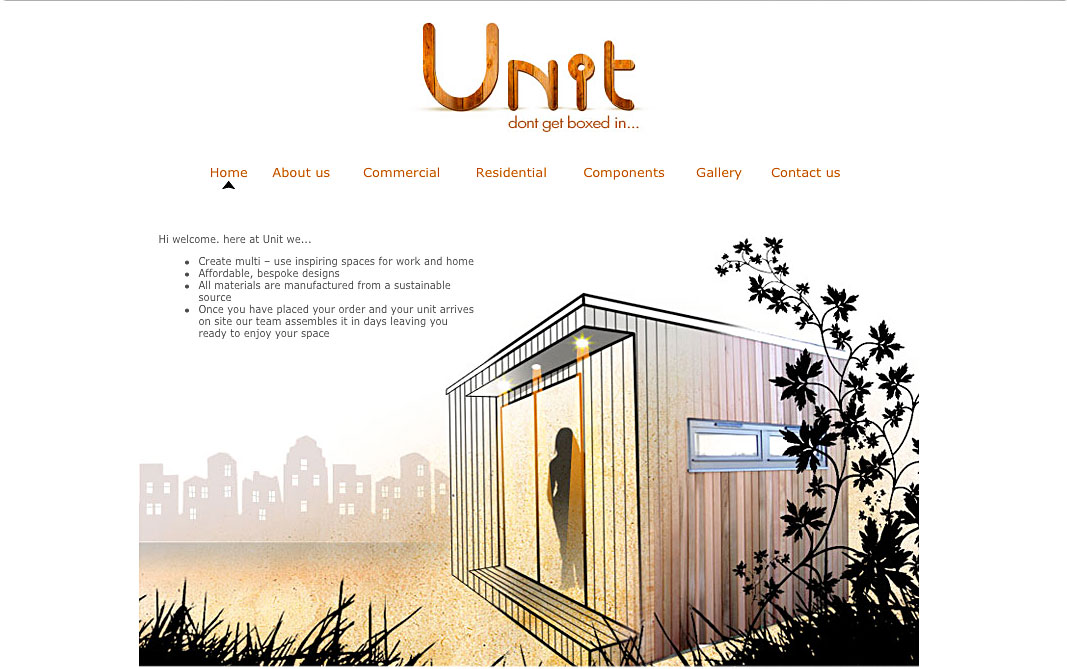 Picture of a website I designed for a company called Unit