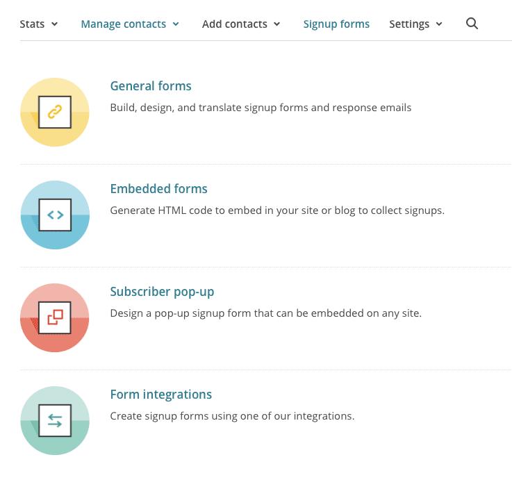 Mailchimp form options