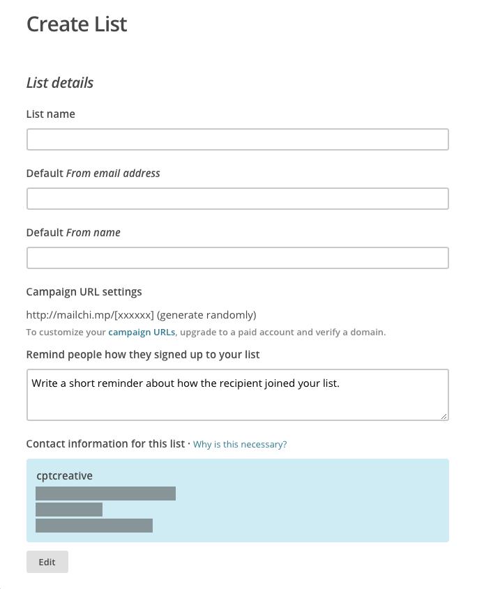 Mailchimp list form