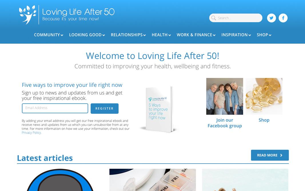 Link to a website I designed for a self-help teacher called Loving Life After 50